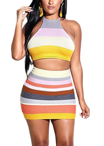 - Pofash Women's Muti Colors Striped Knit Halter Crop Top with Mini Skirt Sweater Dress Set