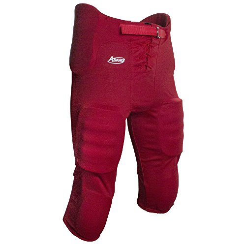 Adams USA Youth Practice Football Pant with 7Piece Integrated Pads Scarlet, X-Large - Scarlet Youth Two Piece