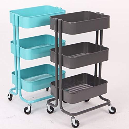 Nueva Cocina De Almacenamiento Rack Carro Tabla De Cortar Cuchillo De Cocina De Metal Multifunción, Gris/Azul Cielo/Beige / Negro Mate Tres Capas 35.5 ...