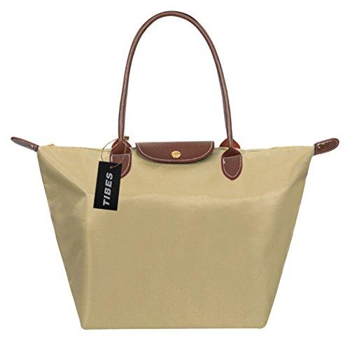 Tibes Bolso de compras simple del bolso de la manera para las mujeres Caqui