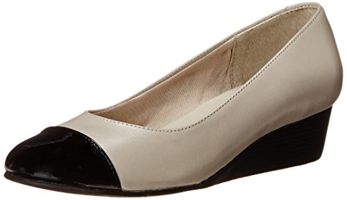 Rose Petals Women's Moda Wedge Pump Bone/Black Patent