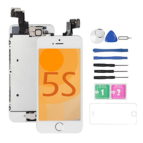 for iPhone 5S/5SE Screen Replacement [White] Full Assembly with Home Button,Camera, Drscreen LCD Display Touch Screen Digitizer Replacement for A1533,A1457,A1453,A1530, A1723,A1662,A1724 (Iphone 5 Screen Replacement Only)