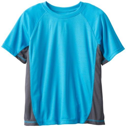 Kanu Surf Big Boys' Short Sleeve UPF 50+ Rashguard Swim Shirt, CB Aqua, Small (8) ()