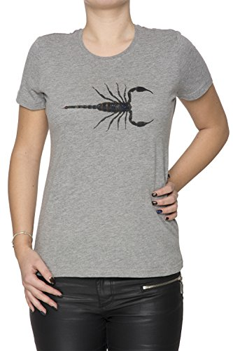 Scorpion Gris Coton Femme T-shirt Col Ras Du Cou Manches Courtes Grey Women's T-shirt