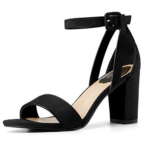 (Allegra K Women's PU Panel Chunky Heel Ankle Strap Sandals (Size US 8.5) Black)