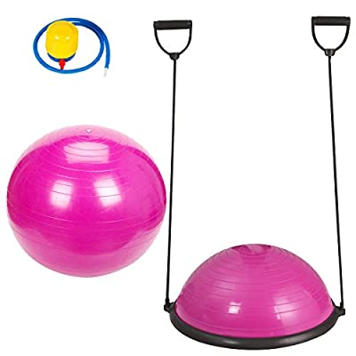 Fitness Yoga Balance Trainer Ball With Free 65cm Exercise Ball and Air Pump Combo Set Great for Workout Gym Aerobic - Pink