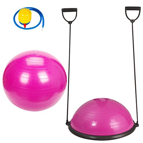 Aerobic Trainer (Pink Fitness Yoga Balance Trainer Ball With Free 65cm Exercise Ball and Air Pump Combo Set Great for Workout Gym Aerobic)
