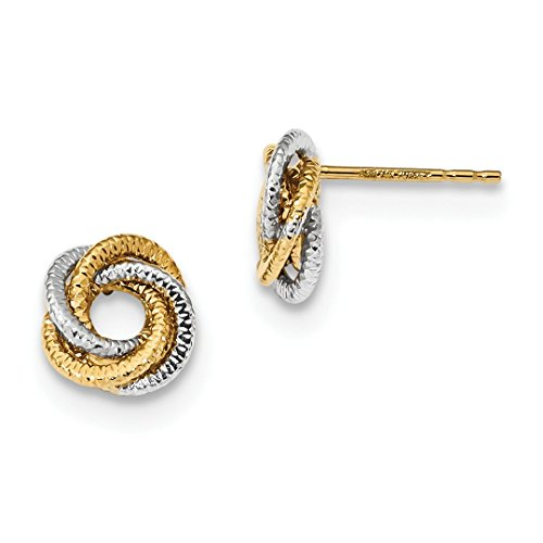 14k Two Tone Yellow Gold Textured Love Knot Post Stud Ball Button Earrings Fine Jewelry For Women Gift Set