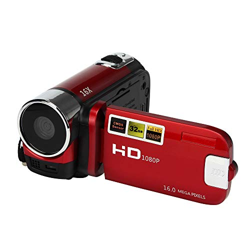 Fine Video Camera Camcorder,HD 1080P 16M 16X Digital Video Camera HD Touch Screen Digital Zoom Camera Recorder Children Boys Girls Gift Toys Outdoor (Red)