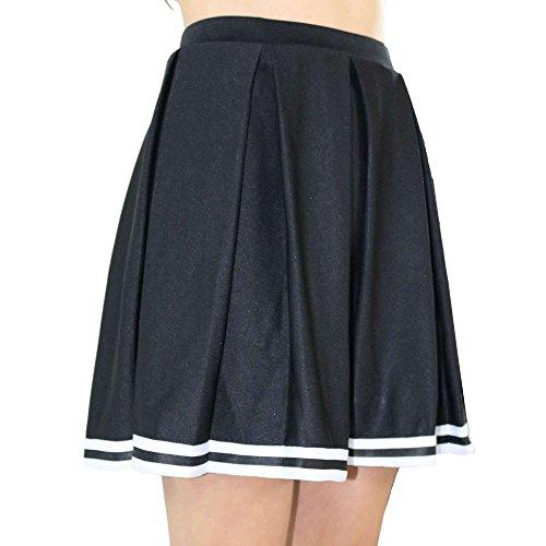 Danzcue Girls Knit Pleat Cheerlearding Uniform Skirt, Black/White, Small