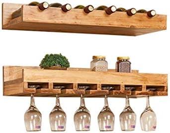 Estantería de vino Botella de vino de madera de pino Montaje en pared de madera maciza Soporte de vidrio Estante for vino for vino Portavasos for vino colgante for restaurantes diariamente Paquete de