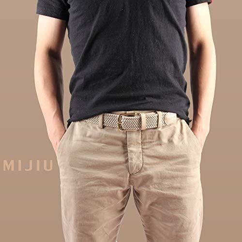 Desiderio Regalo Per Tessuto Beige Fibbia Multicolore Elastico Uomo Casual Cinture Pantaloni Confezione Di HPwzgO
