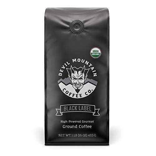 """Black Label"" Dark Roast Ground Coffee, Strongest Coffee in the world With Highest Caffeine, Lab Tested, USDA Certified Organic (16 oz.)"
