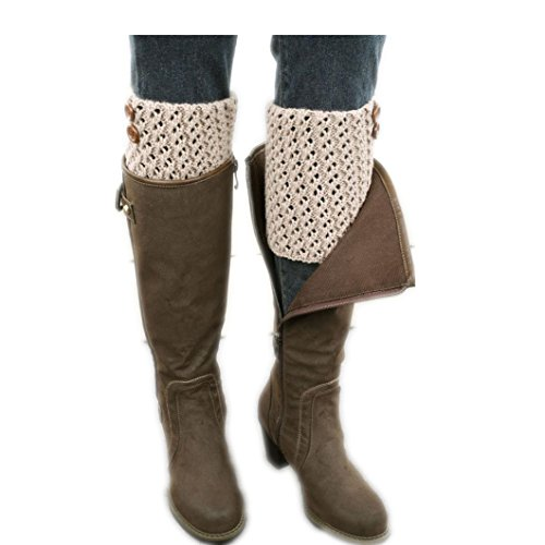 DZT1968® Women Girl Short Knit Button Leg Warmer Boots Socks For Fall Winter (Khaki) (Fall Winter Boots)