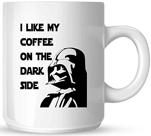 Star Wars - I like My Coffee on the Dark Side - 11oz Ceramic Coffee Mug - White Mug - One-Sided Black Print - Gloss Finish (Mug Coffee Sided)