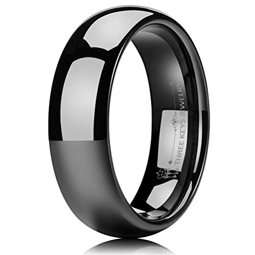 THREE KEYS JEWELRY 6mm Tungsten Carbide Wedding Ring Black Women's Wedding Band Engagement Band Comfort Fit High Polished Classy Domed Size 9.5 (Antique Engagement Bands)