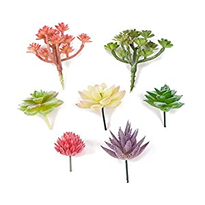Khalee 7 PCS of Different Fake Plants Unpotted Artificial Flower Faux Succulents(Assorted Colors and Style as Picture) 12