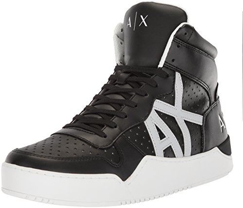 A|X Armani Exchange Men's High Top Perforated Lace up Sneaker, Black, 12 Medium US by A|X Armani Exchange