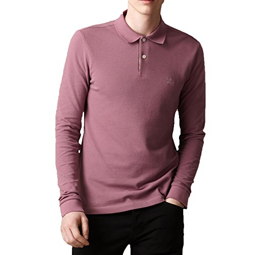 Burberry Brit Mens Long Sleeve Check Placket Polo Shirt  Large  Dusty Pink