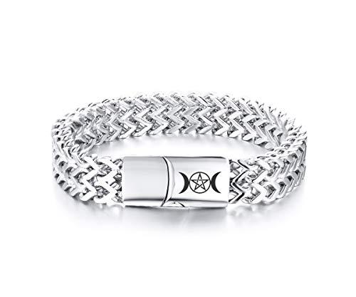 Steel Baguette Stainless Bracelet - VNOX Wiccan Triple Moon Stainless Steel Biker Magnetic Clasp Franco Link Curb Chain Bracelet,12.5MM,8.7