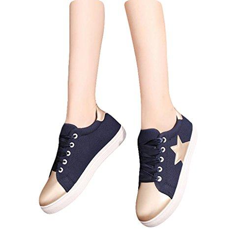 Ein bißchen 2017 mode Studenten Stil Fashion Low-top Damen einfach Segeltuch Sneaker Blau