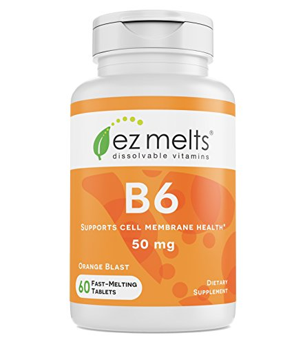 EZ Melts B6 as Pyridoxine, 50 mg, Immune Support, Sublingual Vitamins, Vegan, Zero Sugar, Natural Orange Flavor, 60 Fast Dissolve Tablets