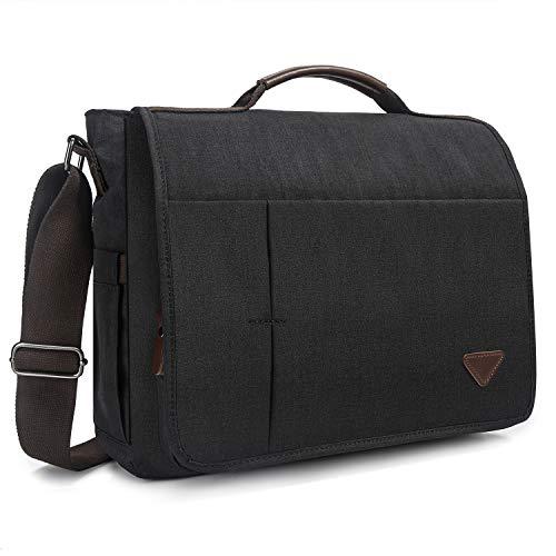 Laptop Bag,Messenger Bag,Canvas Shoulder Computer Bag,15.6 inch Laptop Briefcase Computer Bag Business Shoulder Bag for Men/Travel/Women (15.6, Black-Upgrade)