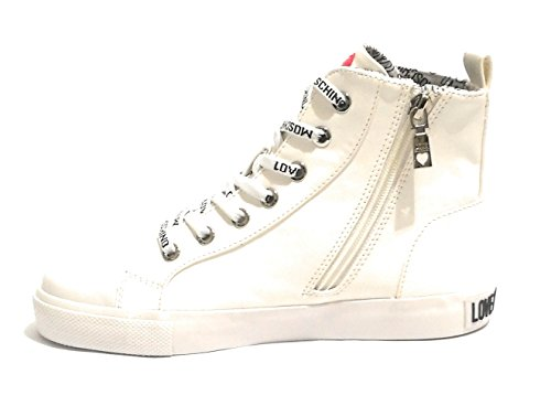Femme Baskets Pour Bianco Moschino Blanc EHvZZq