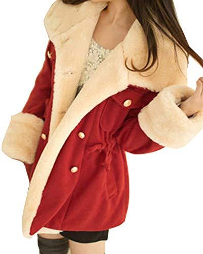 Invernali Cappuccio Costume Cappotto Cappotto Con Giacca Caldo Coat Confortevole Huixin Collo Tasche Laterali Coulisse Lana Con Pelliccia Double Lunga Donna Rot Breasted Manica qw14t