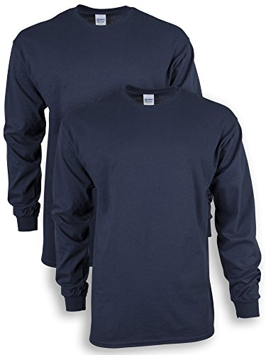 Gildan Men's Ultra Cotton Adult Long Sleeve T-Shirt, 2-Pack, Navy, ()