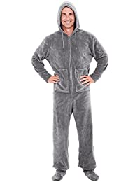 Mens Fleece Solid Colored Onesie, Hooded Footed Jumpsuit...