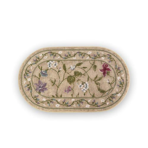 Collections Etc Colorful Oval Floral Butterfly Accent Rug with Skid-Resistant Backing - Décor for Any Room in Home, Beige, 20