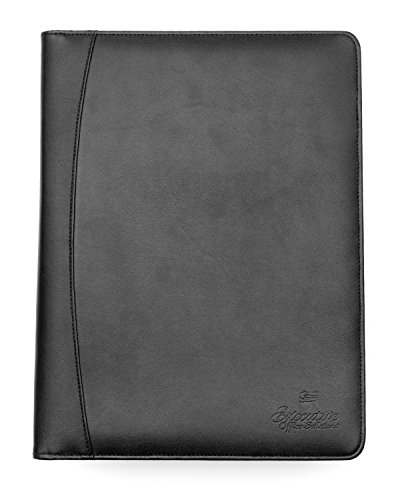 Professional Business Padfolio / Portfolio Case Organizer Resume / Interview Folder Synthetic Leather With Refillable Letter Size Writing Pad - Black