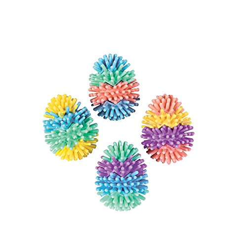 Fun Express - Multicolored Egg-Shaped Porcupine Balls for Easter - Toys - Balls - Porcupine & Noodle Balls - Easter - 36 Pieces (Egg Shaped Porcupine Balls)