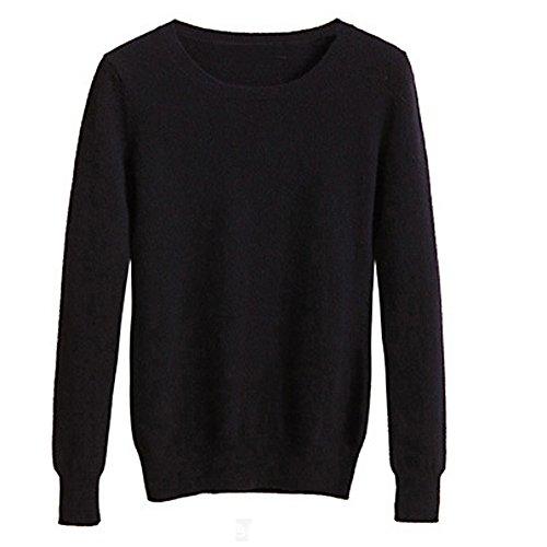 VOBAGA Womens Casual O Elegante Cuello de Manga Larga de Color Sólido Blusa Pullover Tops Suéter Negro