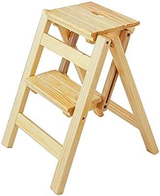 Estante Taburetes con peldaños Escalera de peldaño plegable 2 peldaños Ligero y plegable de madera for niños adultos for biblioteca Loft Cocina Decoración for el hogar - 150 kg de capacidad (natural):