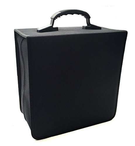 520 Disc Cd - Boostwaves Premium Cloth Black W/ Trim Jumbo 456 Compact Disc CD DVD Blu-Ray Media Wallet Folder Carrying Case Holds 400 420 450 456 CDs