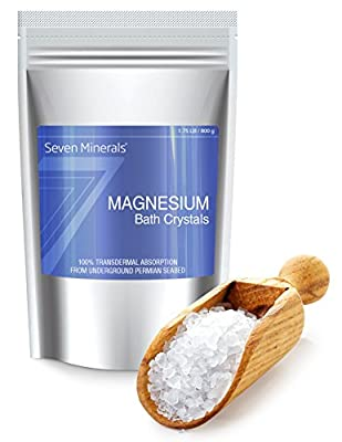NEW Seven Minerals Magnesium Chloride Bath Crystals For Relaxation - Foot Soak (9 uses)+ Full Bath Soak (5 uses) for Restless Legs, Cramps, Muscle Pain & Migraine Relief