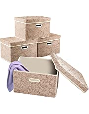 Collapsible Storage Cubes with Lids Fabric Decorative Storage Bins Boxes Organizer Containers Baskets with Cover Handles for Bedroom Closet Living Room 14.9x9.8x9.8 Inch 3 Pack