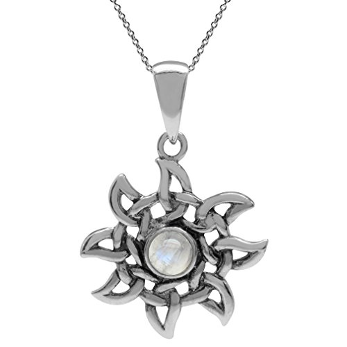 Natural Moonstone 925 Sterling Silver Celtic Knot Sun Ray Inspired Pendant w/18 Inch Chain Necklace (Moonstone Celtic Pendant)