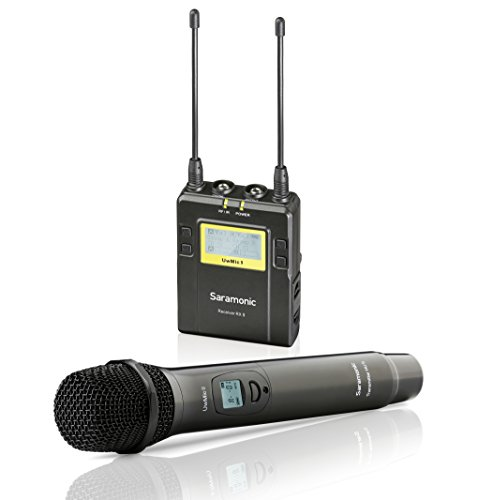 Saramonic UWMIC9 UHF Wireless Handheld Microphone System with Handheld Mic with Transmitter, Receiver Unit with Camera Mount & XLR/3.5mm Outputs