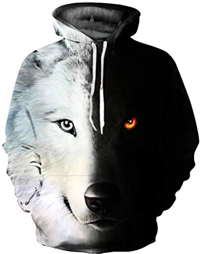 GLUDEAR Unisex 3D Cool Galaxy Wolf Printed Hoodies Personalized Hooded Pullover Sweatshirt,L/XL,Black White
