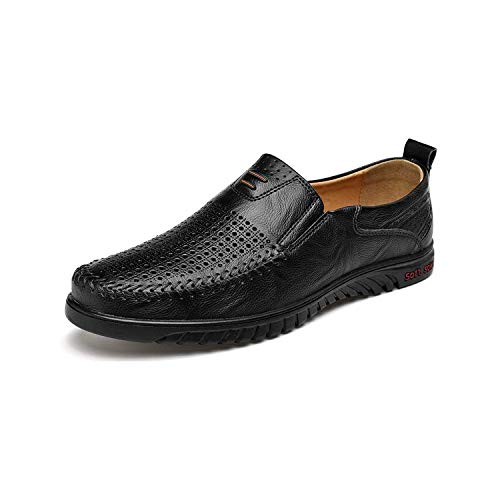 Men Casual Shoes Genuine Leather Breather Soft Driver Loafers Moccasins Comfortable Sneakers,Hole Black,8.5