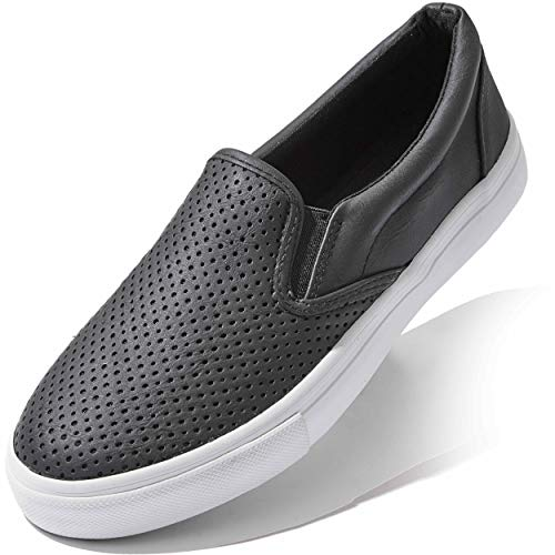 Platforms Sneakers for Women Low Top Slip On Flat Shoes Loafer Classic Breathable Sports Flexible Casual Slip-on Loafers Black,pu,9