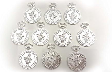 【HARU雑貨】シルバー ミール皿 10枚セット/ウサギ ラッパ アリス 銀 s26/セッティング レジン アクセサリーパーツ