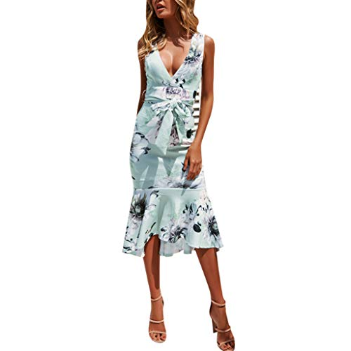 Londony ◈ Women's Wrap V Neck Spaghetti Strap Floral Split Beach Casual Dress Summer Bohemian Down Swing Midi Dress - Top Wall Mounted Jewelry Arch