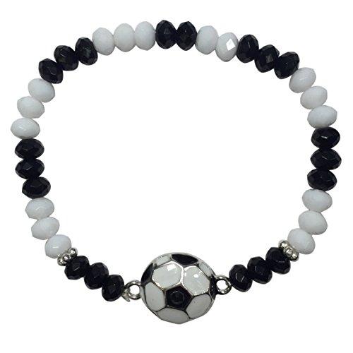 Gypsy Jewels Sports Ball Theme Enamel Silver Tone Simple Stretch Bracelet (Soccer Ball)