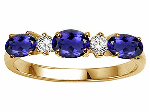 Tommaso Design Oval 5x3mm Genuine 3 Stone Iolite Ring 14 kt Yellow Gold Size 8.5 14k Yellow Gold Iolite Ring