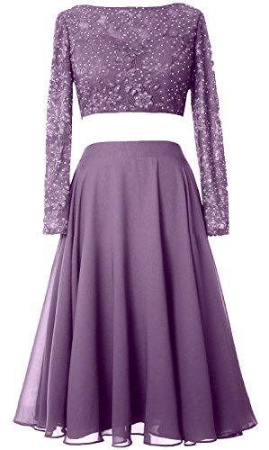 Sleeve Long Lace 2 Elegant Formal Short Prom Cocktail MACloth Wisteria Dress Piece Gown OCqgnHI