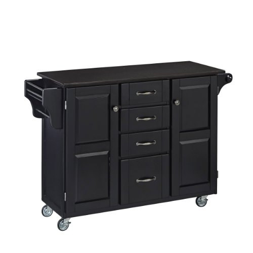 Home Styles 9100-1044 Create-a-Cart 9100 Series Cuisine Cart with Black Granite Top, Black, (Black Kitchen Island)